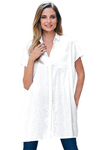 White Linen Tunic (Ellos Women's Plus Size Oversized Linen Blend Tunic White,1X)