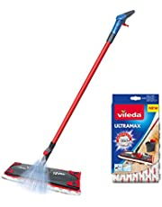 Vileda 1-2 Spray Microfibre Flat Spray Mop with Extra Microfibre Refill Pad, Red