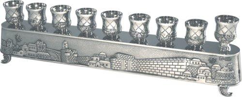 Nickel Plated HANUKKAH MENORAH Candle Holder Candlesticks Israel Art Judaica - Menorah Hanukkah Lamp Brass