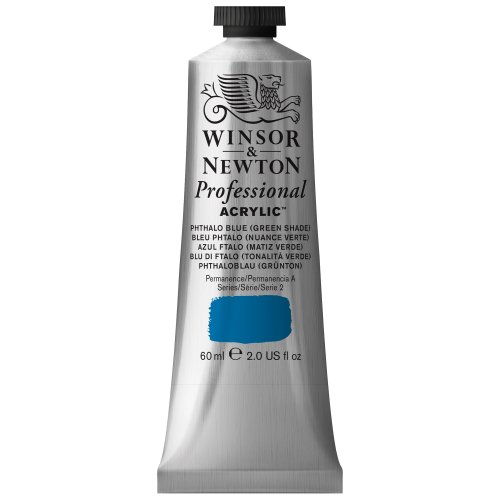 Winsor & Newton Professional Acrylic Color Paint, 60ml Tube, Phthalo Blue Green (Green Acrylic Shades)