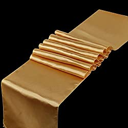 SPRINGROSE Huge 14 Inch x 108 Inch Gold Satin Table Runner (Set of 10). Make Your Reception Pop with These Gorgeous Wedding Decorations. A Must Have for Your Party Supplies.