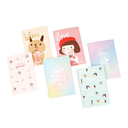 GRACEBELL Hello Jane A4 Life Note Simple Cute Illustrated Korean 6 PC Notebook Set by Gracebell