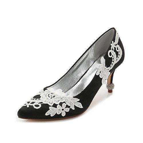 luce Moda punta matrimonio tacchi seta Qingchunhuangtang di scarpe scarpe partito raso donna La scarpe Nero grandi ugello con della alti cantieri scarpe da qCtCxfwg