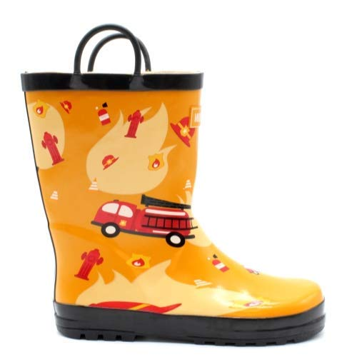 Mucky Wear Children's Rubber Rain Boot, Fireman, 9T US Toddler