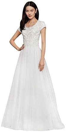 Modest Short Sleeve A-Line Wedding Dress Style SLWG3811 at Amazon ...