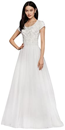 fcbdefc0d251 David's Bridal Modest Short Sleeve A-Line Wedding Dress Style SLWG3811,  Soft White,