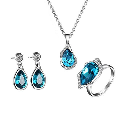 Price comparison product image hibyebuying Necklace Earrings Set, 1 Set Necklace Earrings Ring Bride Wedding Women Jewelry Luxury Elegant Pendant