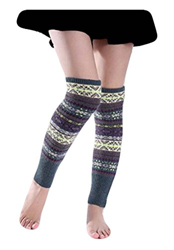 Multi Striped Leg Warmer - Santwo Women Knee High Socks Winter Bohemian Boot Cuffs Knit Crochet Leg Warmers (Grey-01)