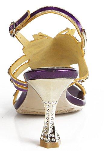 Abby L019 Womens Unico Matrimonio Sposa Damigella Festa Spettacolo Vestito Cono Tacco Sandali In Microfibra Viola-c (cono Tacco)
