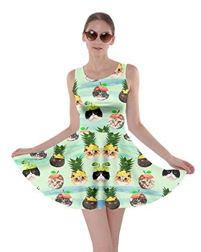 CowCow Womens Fruit Cat Mint Skater Dress, Mint - M ()