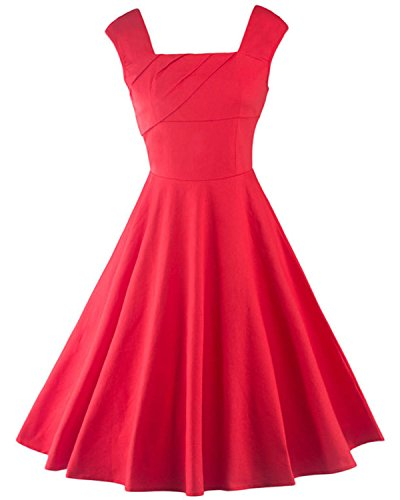 Tempt Me Womens Vintage Sleeveless Cocktail Party Midi Square Neck A-Line Dress Red Small