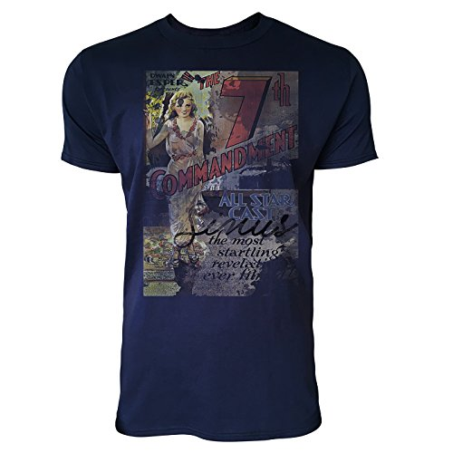 SINUS ART® The 7th Commandment Herren T-Shirts stilvolles dunkelblaues Navy Fun Shirt mit tollen Aufdruck