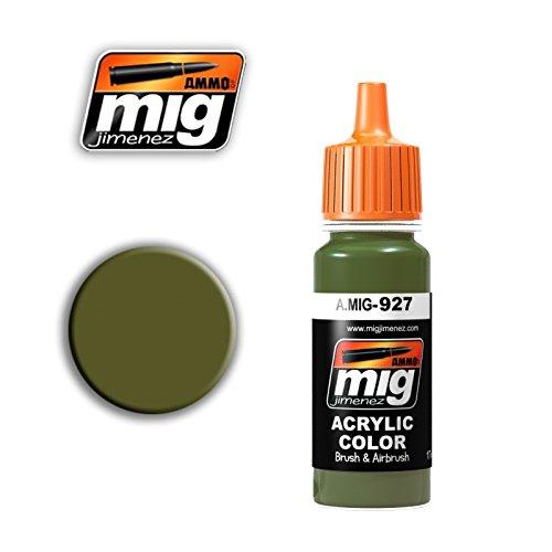 Ammo of Mig Jimenez Acrylic Color OLIVE DRAB LIGHT BASE 17ml #0927 (Base Olive)