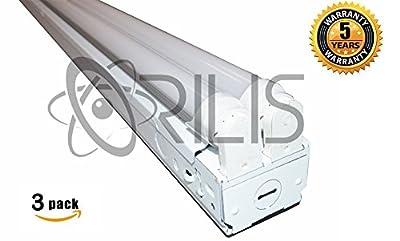 ORILIS (3 Pack) 8-Foot 4-light LED Commercial Flush Mount T8 Lighting Fixture with (4) 24W LED Tubes Included - 5000K -