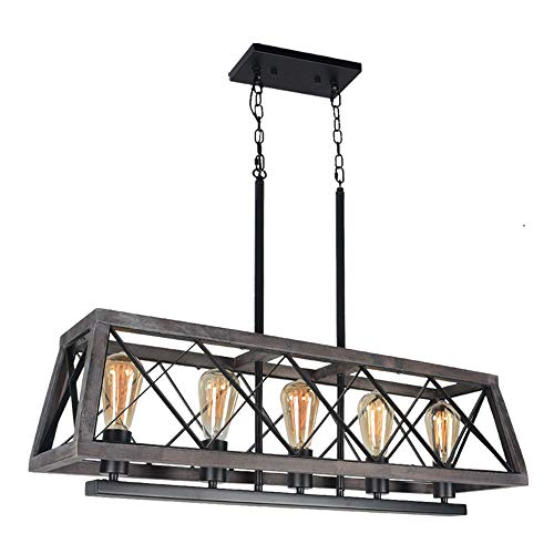 Beuhouz Farmhouse Kitchen Island Light Fixture, Metal and Wood Rectangle Chandelier Rustic Dining Room Chandelier Lighting 5 Lights Edison E26 8019