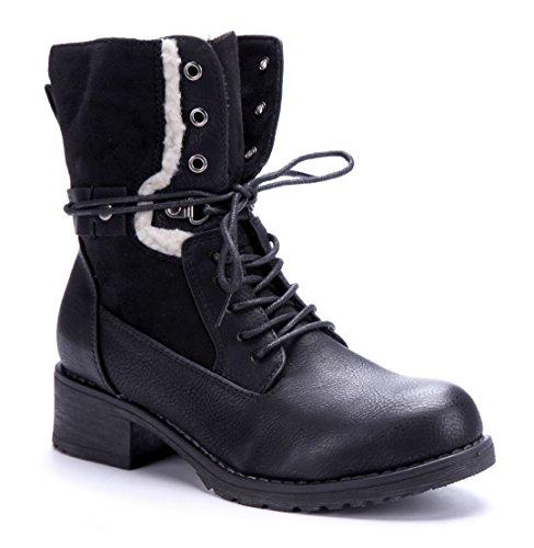 Schuhtempel24 Damen Schuhe Klassische Stiefeletten Stiefel Boots Blockabsatz 4 cm Schwarz