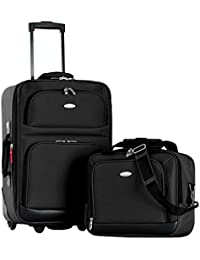 Let's Travel 2 Piece Carry-On Luggage Set, Black