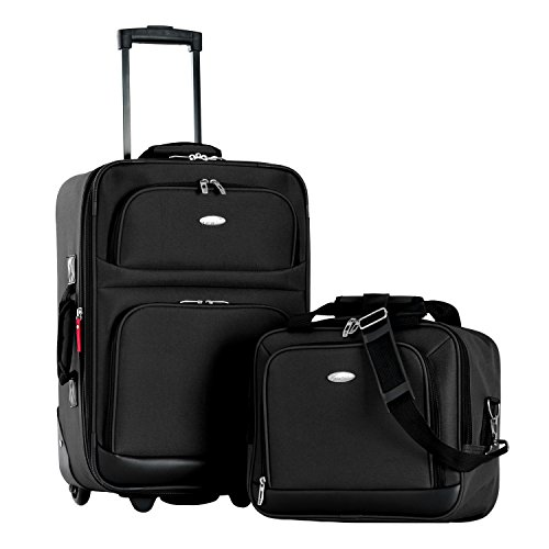 Olympia Let's Travel 2 Piece Carry-On Luggage Set, Black by Olympia