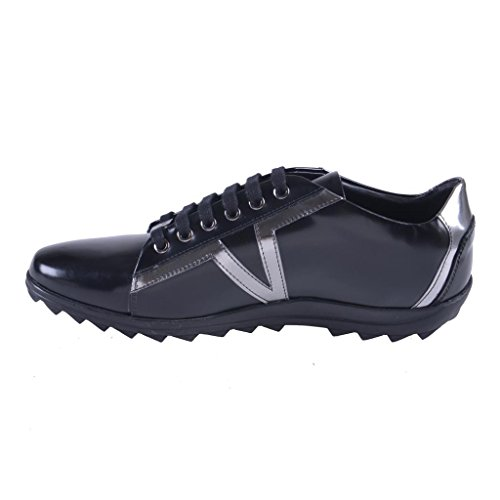 Versace-Collection-Mens-Black-Leather-Fashion-Sneakers-Shoes