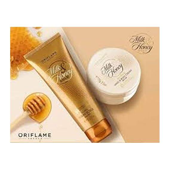oriflame milk and honey sugar scrub & hand and body cream set 75g each
