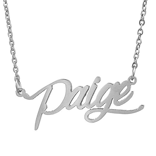 HUAN XUN Stainless Steel Personalized Monogram Necklace, Paige (Jewelry Necklace Monogram)