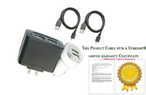 UpBright® NEW Car+Wall Charger+2x USB Cord For Lenovo Thinkpad 1838-XF2 2228-XB5 Wi-Fi Android Tablet PC Power Supply Cord PSU