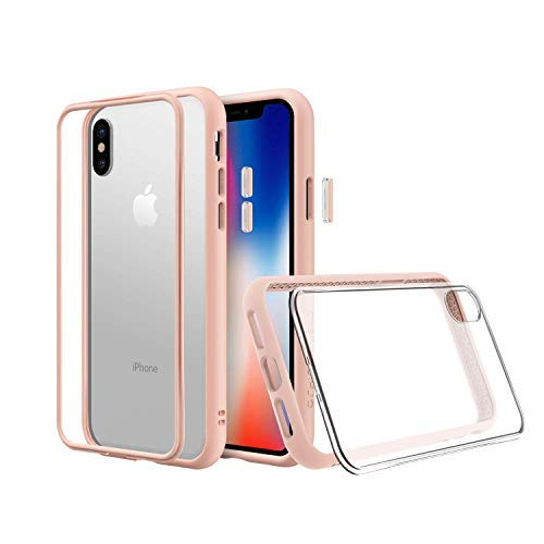 RhinoShield Modular Case for iPhone Xs Max [Mod NX] | Customizable Shock Absorbent Heavy Duty Protective Cover - Compatible w/Wireless Charging & Lenses - Shockproof Blush Pink Bumper w/Clear Back