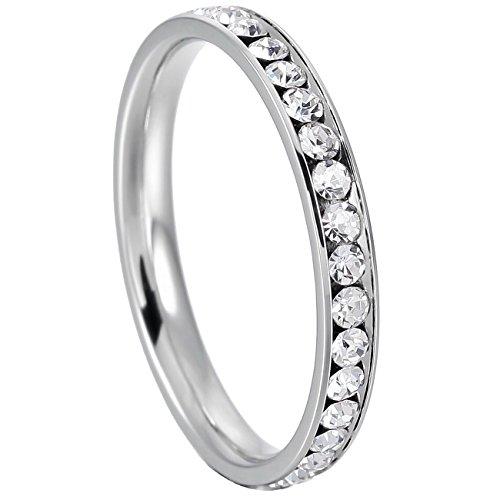 MOWOM White Stainless Steel Eternity Ring Band CZ Wedding