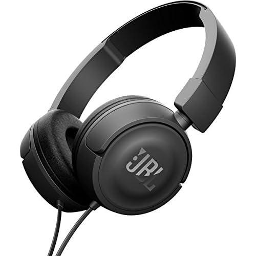 JBL T450  - Auriculares supraaurales con micrófono incluido y cable, control remoto de un solo botón, sonido Pure Bass, negro