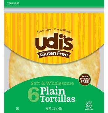"Udi's Gluten Free 9"" Plain Tortillas 6 in Each Pack(4pk)"
