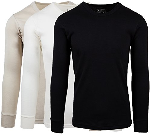 b0a77f2ba79 AMERICAN ACTIVE Men s 3 Pack 100% Cotton Fleece Lined Base Layer Long  Sleeve Thermal Crew
