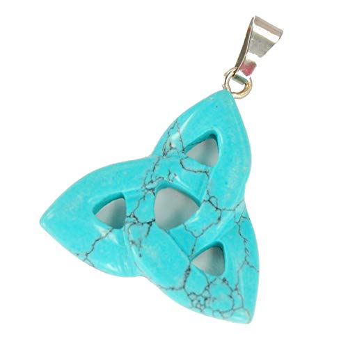 Steampunkers USA Power Pack Series - 30mm Triquetra Celtic Knot Unchained Turquoise Blue - Pendant Only - Tribal Ethnic Carved Necklace - Stainless Steel
