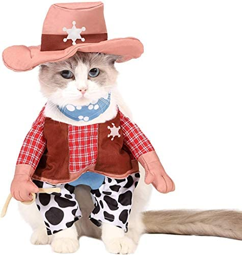Spooktacular Creations Halloween Cowboy Cat Pet Costume for Halloween Dress-up Party, Role Play, Carnival Cosplay, Holiday Decorations Clothes 7