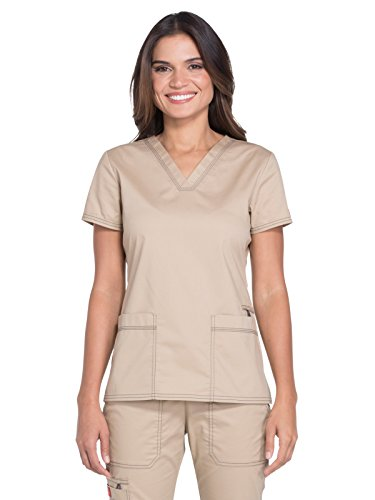 Two Pocket Scrub Top Khaki (Dickies Gen Flex Women's V-Neck Solid Scrub Top Large Dark Khaki)