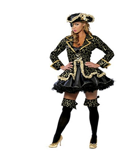 Binglinghua Women Hot Lady Pirate Halloween Costume Sexy Captain Dress Up & Role Play (XL, (Sexy Captain Costumes)