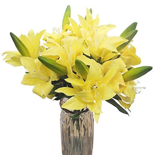 cn-Knight Artificial Flower 6pcs 22'' Silk Lily Spray Long Stem Lilium with 2 Blossoms and 1 Bud Faux Flower for Wedding Bridal Bouquet Bridesmaid Home Décor Office Baby Shower Centerpiece(Yellow)