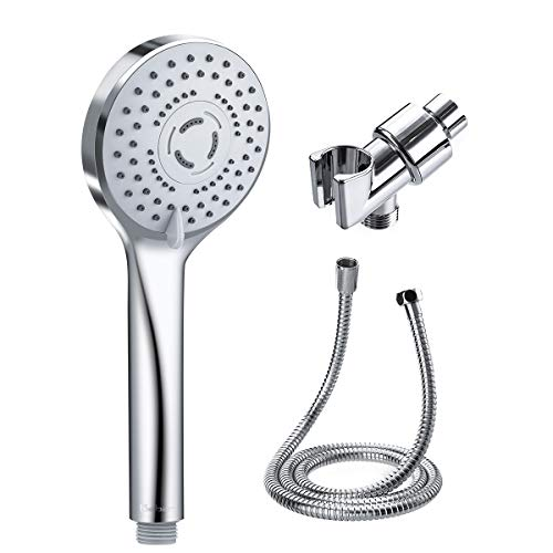 Baban Handheld Shower Head with Powerful Shower Spray against Low Pressure Water Supply Pipeline, Multi-functions, Bathroom Accessories w/Hose, Bracket, and Teflon Tape- Chrome