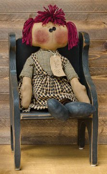 Penelope Doll Collectible Antiqued Fabric Burgundy Yarn Hair Country Primitive Décor