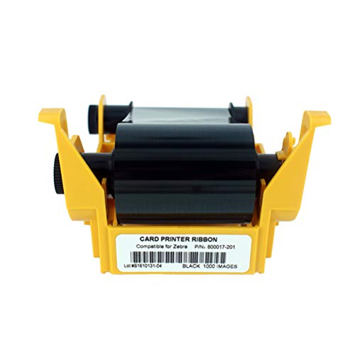 800017-201 Black Monochrome Ribbon for Zebra P11XX Card Printers, P100i P110i P120i Resin Ribbon, 1000 - Color P100i Card Printer