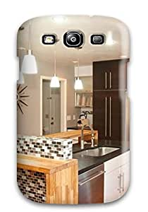 Galaxy S3 Modern Brown And White Kitchen With Tile And Wood Island Print High Quality Tpu Gel Frame Case Cover