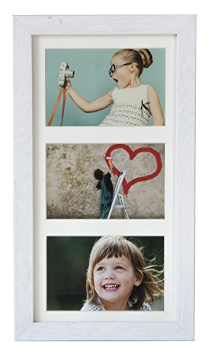 (BD ART 18x35 cm (7x14-Inch) - 3 Aperture Rustic White Collage Picture Frame with Mat for 3 Photos 4x6-Inch - Wide Moulding)