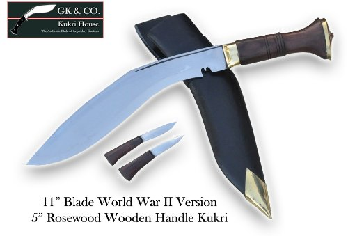 "Genuine Gurkha Kukri Knife - 11"" Blade World War II Wooden Handle Kukri - Handmade by GK&CO. Kukri House in Nepal"