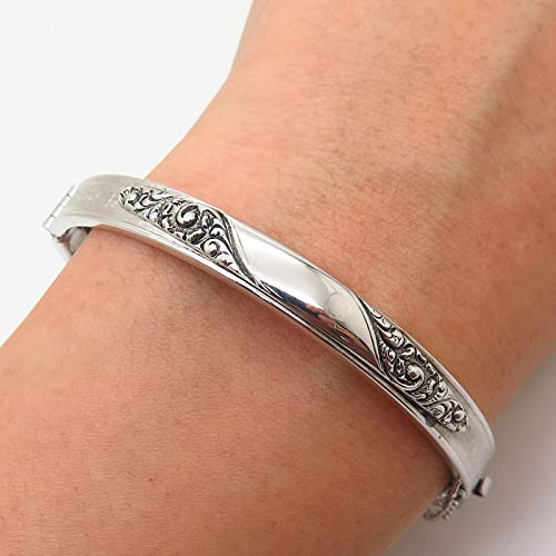 (Silver-Tone Vintage Whiting and Davis Co. Swirl Design Bangle Bracelet 6 3/4 Jewelry by Wholesale Charms)