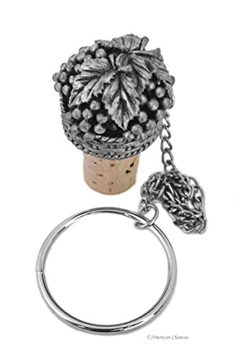 Bar Grape Bunch Pewter & Cork Wine Bottle Stopper with Ring
