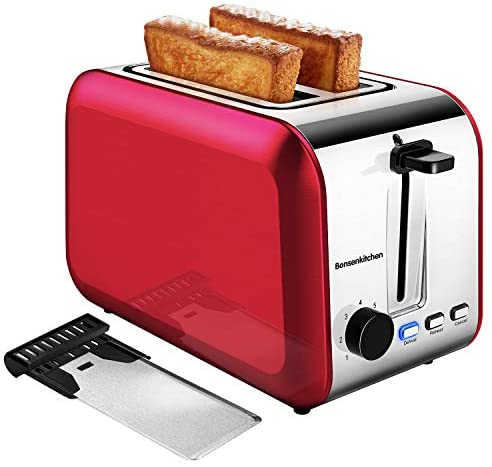 Bonsenkitchen 2-Slice Extra-Wide Slot Toaster with Defrost/Bagel/Cancel Function, 7 Shade Setting, Stainless Steel Bagel Toaster