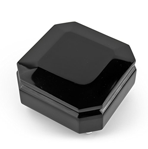 Enchanted Evening Jewelry (Gorgeous 18 Note Hi Gloss Midnight Black Modern Beveled Musical Jewelry Box - Some Enchanted Evening)