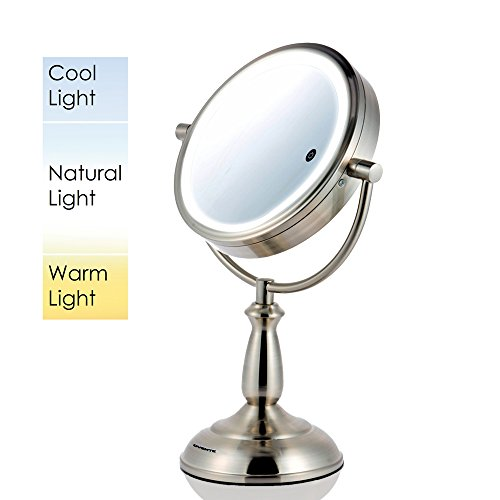 "Ovente 7.5"" Lighted Tabletop Vanity Mirror, Battery or Cord Operated, SmartTouch Cool, Warm, Daylight LED Tones (1x7x Magnification, Nickel Brushed) - Skin And Warm Cool Tones"