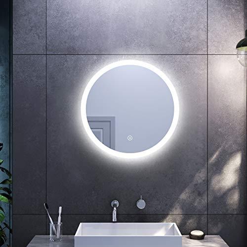 SONNI Espejo Redondo de Bano 60x60cm,Espejo Pared Antinieble con Interruptor Tactil,Espejo de Bano con Diseno Moderno Ideal para Bano Dormitorio
