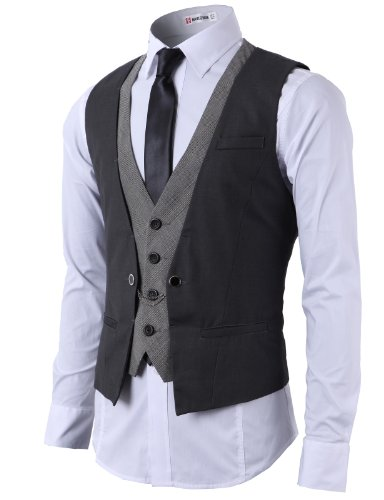 H2H Men¡s Top Designed Casual Slim Fit Skinny Dress Waistcoat Chain Rings CHARCOAL US L/Asia XL (CMOV01)