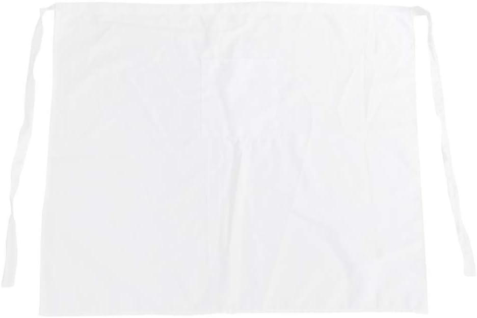 Tablier de Cuisine Uniforme de Gar/çon de Serveuse de Bar Tabliers pour Homme Femme Hemoton Tablier de Chef en Coton Tablier de Restaurant pour Boulanger Demi-Tablier Blanc avec Poche
